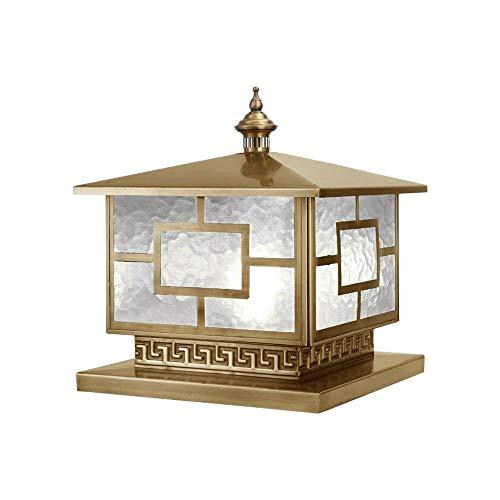 KMYX Place Cuivre Couleur Lantern IP55 étanche Paysage Colonne Lampe de jardin Décor pilier lampe Extérieur Super Bright E27 Lampe Lampe de table
