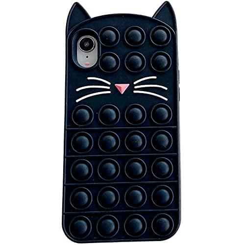 YEARN MALL Custodia per iPhone SE 2020/8/7/6s/6, Push Bubble Fidget Toy antiurto custodia antistress e anti-ansia (gatto-nero)