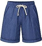 HOW'ON Women's Elastic Waist Casual Comfy Cotton Beach Shorts with Drawstring Denim Blue XL