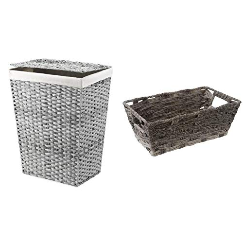 Whitmor Liner and Lid Laundry Hamper, Gray Wash & Split Rattique Small Shelf Tote-Gray Wash