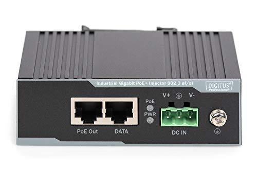 DIGITUS PoE+ Injektor - IEEE802.3at - Gigabit Ethernet - DIN Hut-Schiene - DC Klemmleiste - PoE Modus A & Modus B