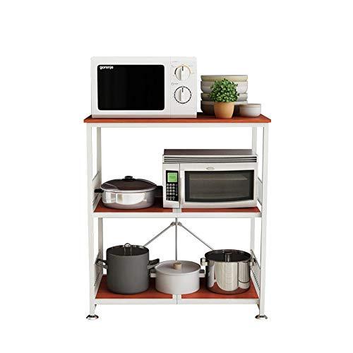 BEVANNJJ ZYY Küche Mikrowelle Regal, Stand Trolley 3-Tier Lagerung Gewürzregal Ofen Rack-Reiskocher Regal, 84 × 46 × 89, Cmcherry Farbe