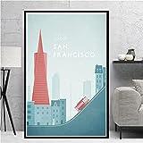 IFUNEW Cuadro de Lienzo Nueva York Berlín Arte japonés Moderno Minimst Travel City Poster Print Canvas 60x90cm