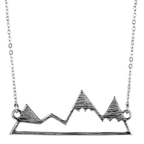 Lux Accessories Halskette und Anhänger mit Bergmotiv, Ski, Winter, Snowboard
