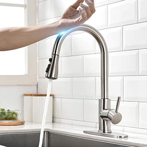 Touch On Kitchen Faucets with Pull Down Sprayer Latest Upgrade Smart Touchless Kitchen Sink Faucets with Deck Plate, Stainless Steel Brushed Nickel
