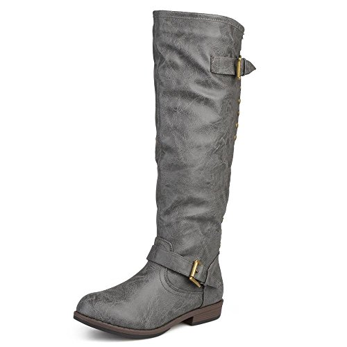 Journee Collection Womens Regular Sized and Wide-Calf Studded Knee-High Riding Boots Dark Grey, 8 Regular US