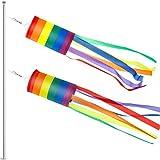 2 Packungen Amerikanische US Flagge Windsack Bunten Regenbogen Hängende Dekoration Patriotische Windsack Wasserdichtes Material für Außenbereich Hängen, 24 Zoll (Regenbogen Säule)