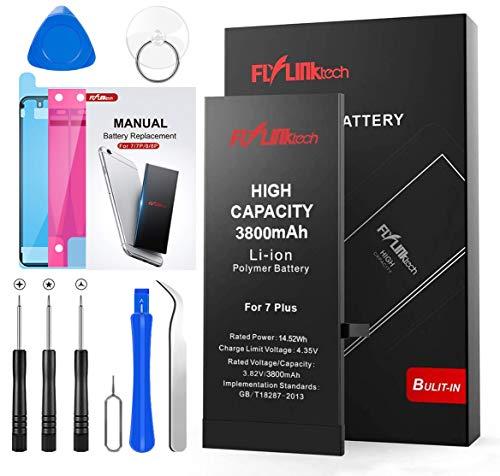 Batteria per iPhone 7 Plus 3800mAh Alta Capacità Batteria Interna di Ricambio in Li-ion, Strumenti di Riparazione Completi con Kit Sostituzione, Cacciavite Strumenti e Adesivo