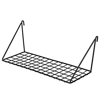 """Kaforise Hanging Straight Shelf for Wire Wall Grid Panel, Small Wire Wall Organizer and Display Shelf, Size 11.8"""" X 4.3"""" ,Black Painted - Practical Display Shelf for Wall Grid: Perfect for storage and display small things like small plant , framed photo on the wall grid. Sturdy Construction: Made of strong iron wire and sprayed with black paint, providing long-lasting use. Easy to Install: Prefabricated hooks can be easily hung on the wall grid, won't be any trouble with installation. - wall-shelves, living-room-furniture, living-room - 41DNiqVli9L. SS400  -"""