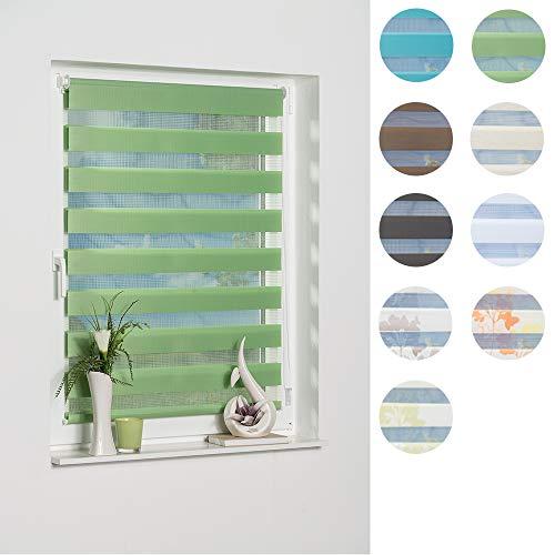 K-home Klemmfix Doppelrollo Madrid ohne Bohren Grün 40 x 150 cm (B x L)