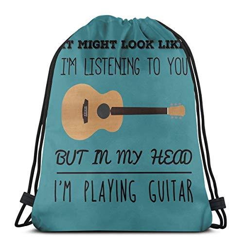 Dutars Mind - Bolsa de Hombro con cordón para Guitarra, Mochila de Viaje, Bolsa de Gimnasio, Mochila con cordón, Ligera, para Viajes, Gimnasio, Yoga, Regalo de Almacenamiento