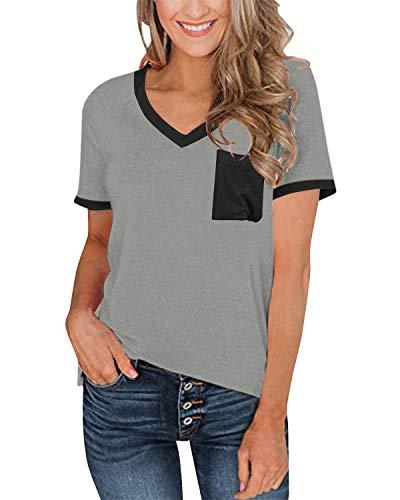 kenoce T-Shirt Mujer Camiseta de Manga Corta Blusa Cuello en V Casual Sexy Color Sólido Elasticidad Blusas H-Gris M