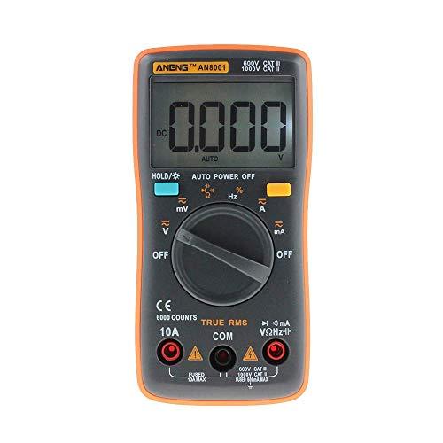 BEVANNJJ ZYY Nueva ANENG AN8001 Naranja multímetro Digital de 6000 Cuentas de luz de Fondo AC/DC del amperímetro del voltímetro Ohm T10 medidor portátil