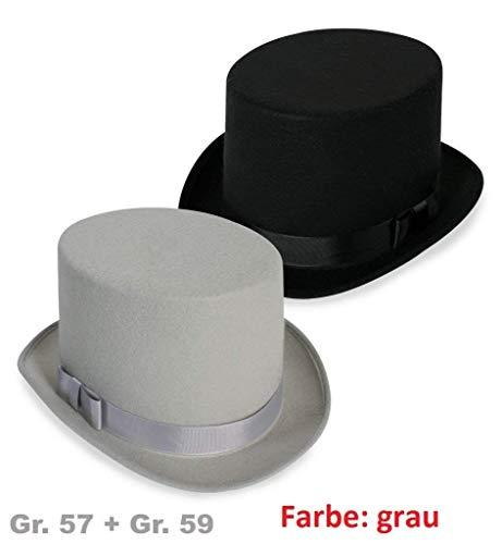 KarnevalsTeufel Zylinder mit Band und Schleife grau/schwarz - (Gr. 57, grau)