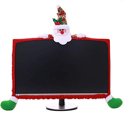SUSHAFEN 1 Pack Christmas Computer Monitor Border Cover TV Monitor Cover Elastic Laptop Computer Cover for Xmas Home Office Computer Decoration-Santa Claus