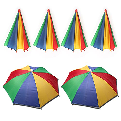 Yesloo 6 Pcs Umbrella Hat, Regenschirm Hut, Regenbogen Schirmmütze, Lustiger Regenschirmhut, faltbar