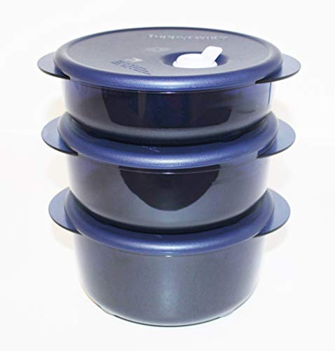 Tupperware Vent 'N Serve Set of 3 Rounds - Microwave and Freezer Safe Containers in Indigo Blue