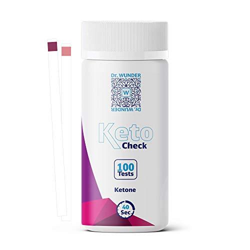 Dr. Wunder® KetoCheck: 100 Teststreifen |bestens geeignet für die genaue Messung von Ketonen im Urin |ideal für ketogene Ernährung |exaktes Ergebnis in nur 40 Sekunden