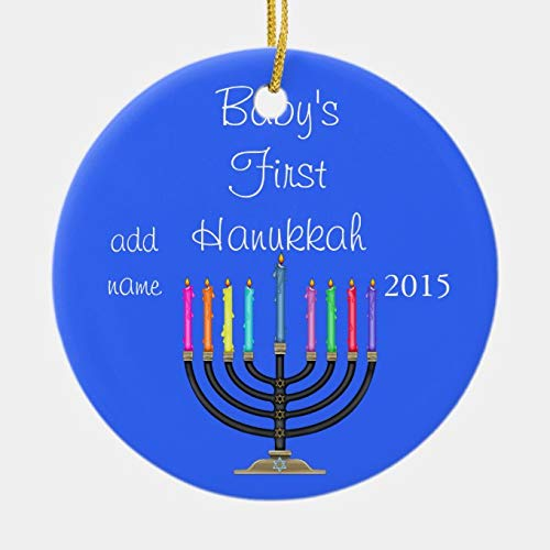 Pealrich 2020 Merry Christmas Ornaments Gift, 2015 Baby's First Hanukkah Ornament, 3 Inch Ceramic Holiday Home Decor