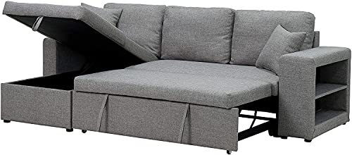 COODENKEY Sectional Sleeper Sofa with Storage and Pulled Out Bed, Include 2 Seats L-Shape Couch Reversible Chaise and 2 Pillows, Grey