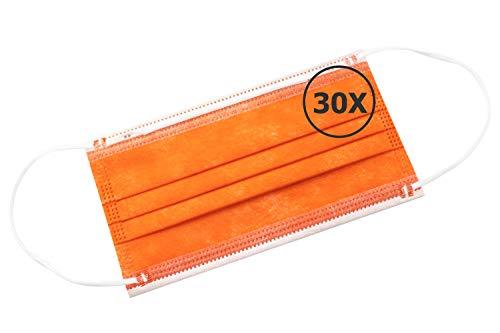 TBOC Mascarilla Higiénica No Reutilizable -  [Pack 30 Unidades] Máscara 3 Capas [Naranja] Ligera Suave y Transpirable [Desechables] con Pinza Nasal Protección Facial [Alta Filtración]
