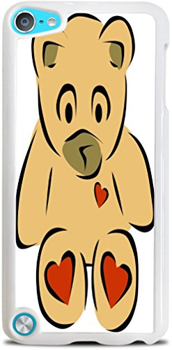 Smarter Designs Vinyl Decal Printed Design Teddy Bear with Hearts White Hardshell Case for iPod Touch 5G