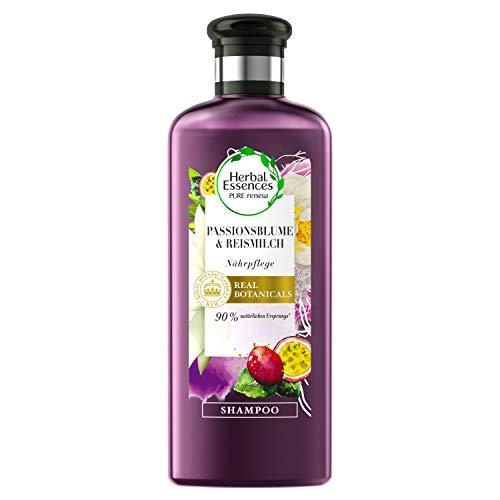 Herbal Essences PURE:renew Passionsblume und Reismilch, Nährpflege Shampoo, 250 ml, Shampoo Damen, Haarpflege Trockenes Haar, Haarpflege Für Trockene Haare, Haarpflege Glanz
