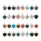 Fashewelry 50Pcs Heart Shaped Mixed Stone Pendants Healing Chakra Crystal Gemstone Rock Charms Random for Jewelry Making Hole: 2x7mm