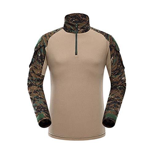 YuanDian Herren Frösche Schlank Passen Tarnung Airsoft Taktisch Militär T-Shirt Militärhose Sets Langarm Camo Armee Top + BW Feldhose Outdoor Camping Uniform Dschungel Digital Shirt 2XL