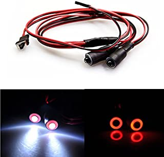 RC 10mm 2 Leds Angel Eyes LED Light Headlights/Taillight for 1:10 RC Crawler Truck Car (Red+White)
