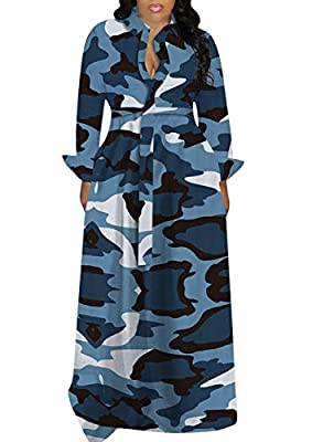 LKOUS Women Casual Butterfly Print Button Long Sleeve Loose Cocktail Swing Maxi Shirt Dresses Plus Size