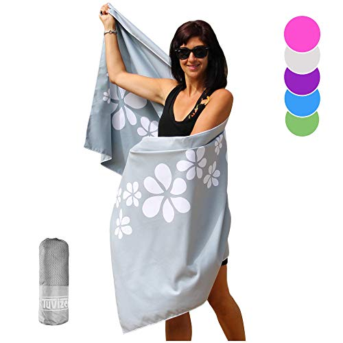 """Tuvizo Beach Towel - Microfiber Quick Dry Sand Free Oversized Towels with Travel Bag 71 x 31"""""""