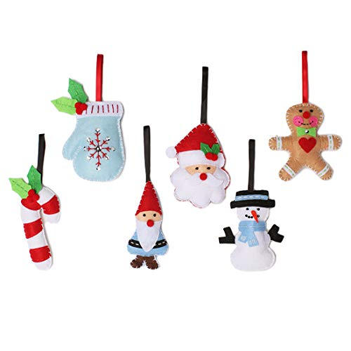 Christmas Tree Ornaments Stocking Stuffer 6 Pack Plush Felt Ornaments