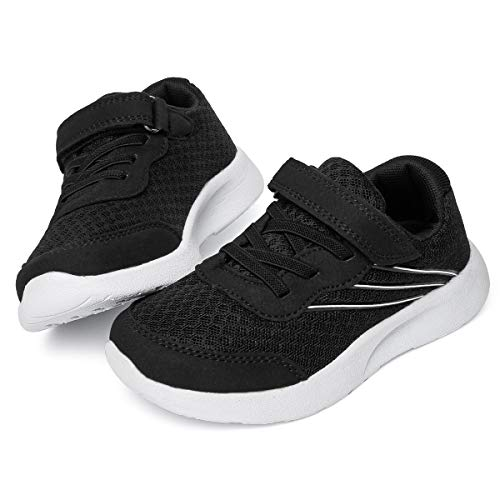 ziitop Boys Girls Sneakers Kids Running Shoes Lightweight Strap Tennis Sports Shoes Breathable Athletic Mesh Shoes for Toddler/Big Kids. Black White