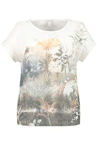 GINA LAURA Damen T-Shirt, Blütenmotiv, Flockdruck, Rippbündchen khakigrün XL 750343 31-XL