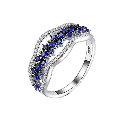 XCSM Anillo de Zafiro para Mujer Simulación Diamante Azul Piedra Preciosa Anillos de Plata Declaración Compromiso Promesa Anillos Aniversario Boda Cumpleaños Joyería