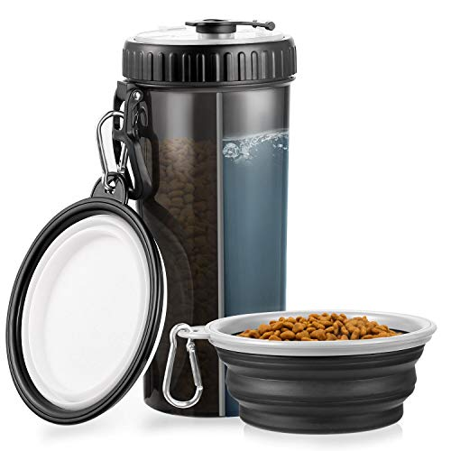 WOMGF 400ml Botella de Agua para Perros Portatil Envase de Comida para Mascotas para al Aire Libre Caminar Viajar con 2 Plegable Tazones...