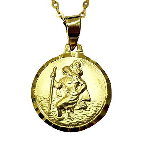 Sicuore Medalla San Cristobal Para Mujer Hombre - Plata De Ley 925 Incluye Cadena 45cm Y Estuche Para Regalo (Chapado en Oro 18K)