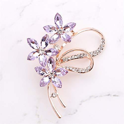 JIEERCUN Broche Moda Belleza Dama Rosa Oro aleación de Zinc Cristal Exquisito Flor Pin Boda Regalo de Boda Hombres Broche (Color : Light Purple)