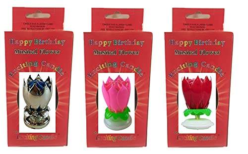 3 Pack - Silver, Pink, Red, Flower Birthday Candle