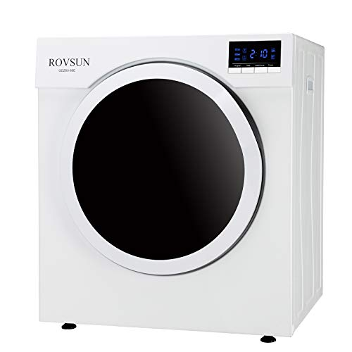 ROVSUN 13.2LBS Portable Clothes Dryer, 1500W High End Front Load Tumble Laundry Dryer w/Stainless Steel Tub & LCD Screen, White