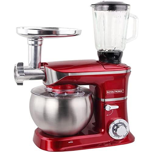 Máquina de cocina Amasadora Royaltronic 6 litros 1900 W máx. Roja Amasadora multifuncional Amasadora Picadora de carne Batidora