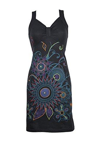 Filosophie Wunderschönes Ethno Kleid mit abstracten Floral Print und bunten Stickereien – Hippie Chic – 100{9bb5067259b29e3373ebe5a889aad56023dfd3ee626201d58c8646b19cfb9a52} Baumwolle - OONA (S/M)