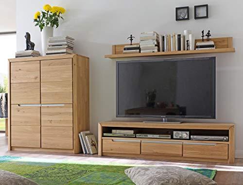 Wohnwand Pisa 32 Eiche Bianco massiv 3-teilig Medienwand TV-Wand Wohnzimmer TV-Möbel