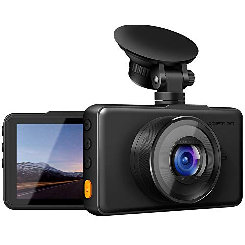 APEMAN Dash Cam 1080P FHD DVR Car Driving Recorder 3 Inch LCD Screen 170° Wide Angle, G-Sensor, WDR, Parking Monitor, Loop Recording, Motion Detection