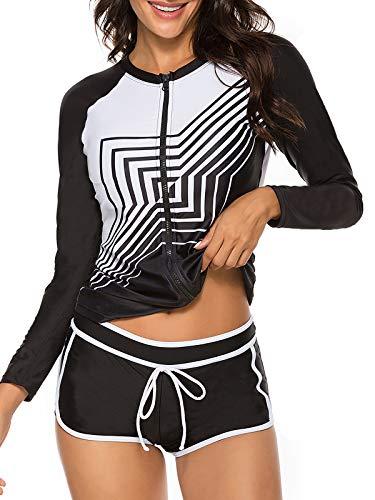 Zando Womens Two Piece Swimsuits Long Sleeve Rashguard Shirt Athletic Tankini Set Bathing Suit Black / White 12-14