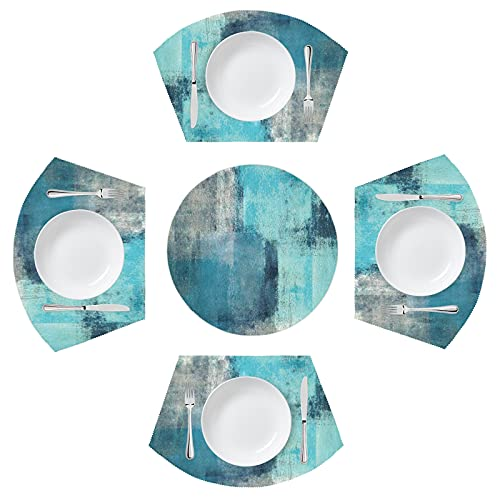 Blue Artistic Watercolor Round Table Placemats for Round Tables