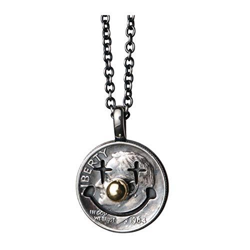 Joker Sterling Silver Coin Necklace for Men, for Husband Friends Women Boyfriend Cool Boys, 45 cm / 17.7' Chain