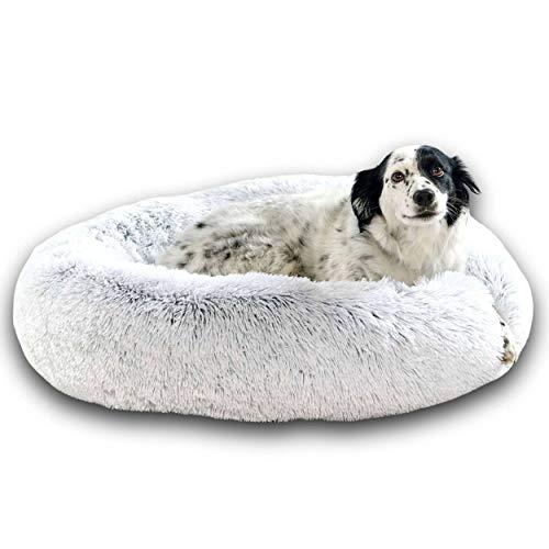 Cojín para perros Cama para gatos de 80 cm DODO Donut™ Cómoda cesta de felpa antiestrés redonda y suave Capullo Pequeño Mediano Grande Espuma de apoyo ortopédico 23 kg/m3 Colchón fácil de lavar XL