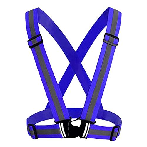HNZZ Seguridad Ajustable Seguridad Reflexivo Visibilidad Chaleco de Rayas Chaqueta de resaltado para la conducción Nocturna Deportes de Ciclismo (Color Name : Dark Blue)